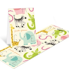 Alphabet Animals -- Baby Shower Thank You Cards