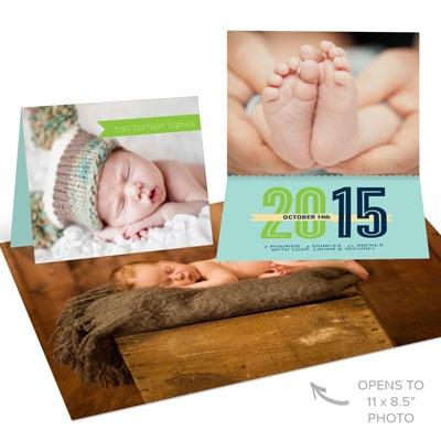 Surprise Inside Blue Birth Announcements