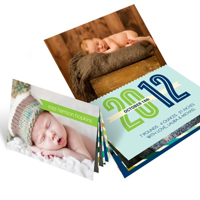 Booklet of Blocks -- Photo Baby Announcements