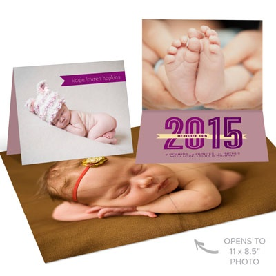 Surprise Inside Purple Birth Announcements