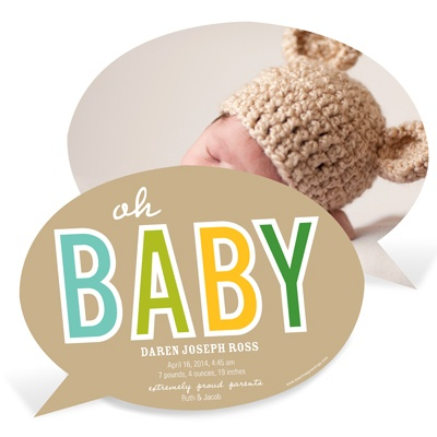 Baby Talk -- Custom Photo Birth Announcements