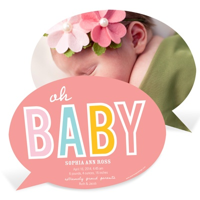 Baby Talk Girl Birth Announcements