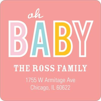 Baby Talk Girl Baby Address Labels