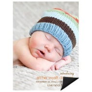 Lasting Introduction Vertical Magnet Birth Announcements