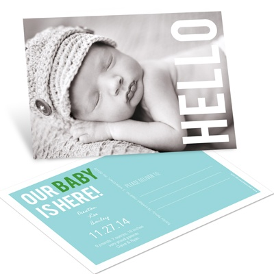 Hello Postcard --Birth Announcements