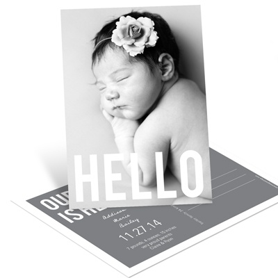 Hello Vertical Postcard --Birth Announcements