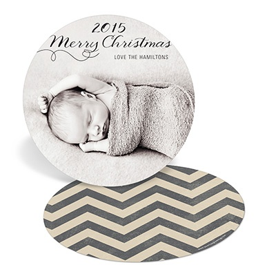 Chevron Circle Photo Christmas Cards