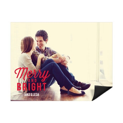 Festive Phrase Horizontal Magnet Holiday Photo Cards
