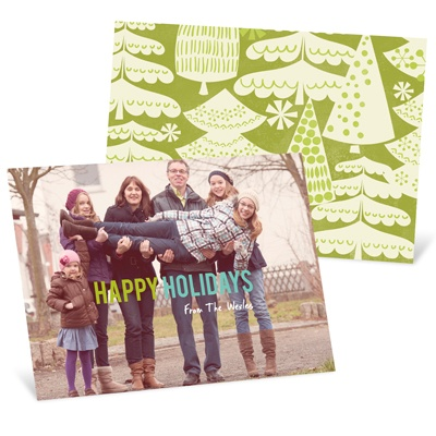 Vintage Treescape Horizontal Holiday Photo Cards