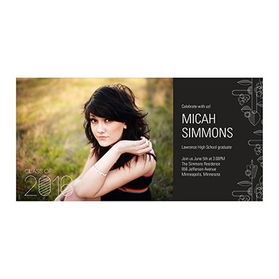 Photo Paper Flower Power Graduation Announcements
