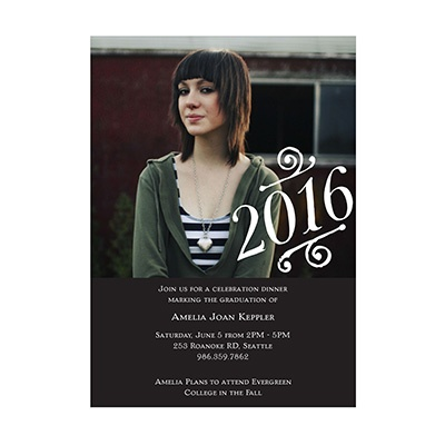 Photo Paper Embellished Year Graduation Announcements