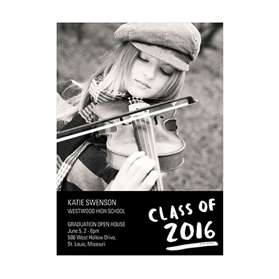 Photo Paper Brush Strokes Graduation Announcements