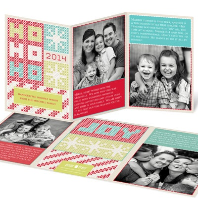 Stitched With Joy Tri-Fold Holiday Photo Cards