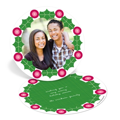 Wreath Frame Circle Christmas Card