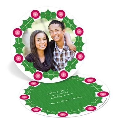 Wreath Frame Photo Christmas Cards