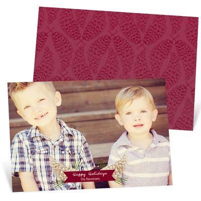Horizontal Pine Design -- Holiday Photo Cards