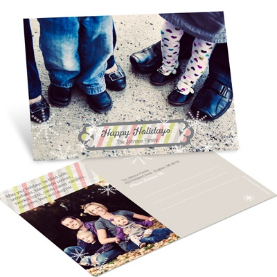 Horizontal Stripes And Snowflakes -- Holiday Photo Postcards