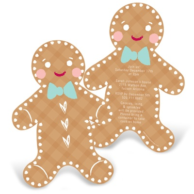Gleeful Gingerbread -- Kids Christmas Party Invitations