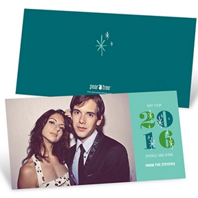 Twinkling Style Horizontal Photo -- New Year Photo Cards