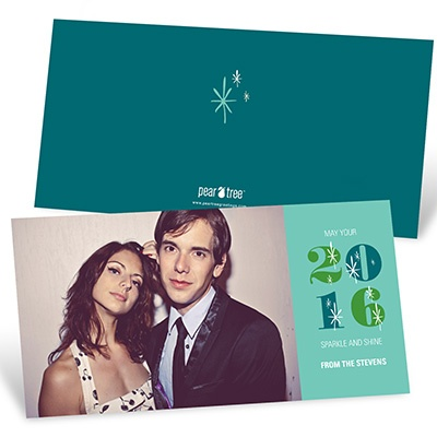Twinkling Style Horizontal Photo New Year Photo Cards