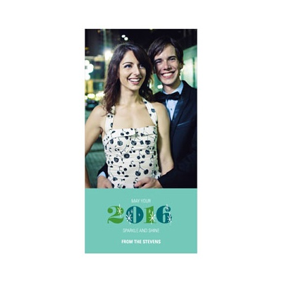 Photo Paper Twinkling Style Vertical New Year's Cards