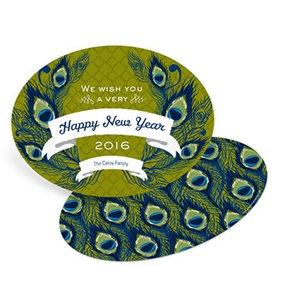 Patterned Peacock -- Vintage New Years Cards