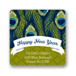 Patterned Peacock -- Holiday Address Labels