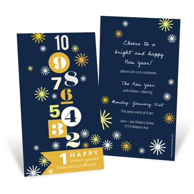 Bold Countdown Blue Holiday Party Invitations
