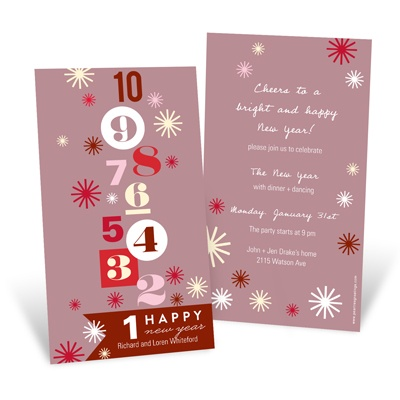 Bold Countdown Red Holiday Party Invitations