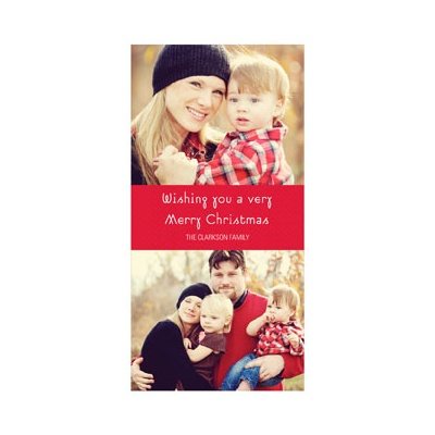 Photo Paper Chevron Cheer Photo Christmas Cards