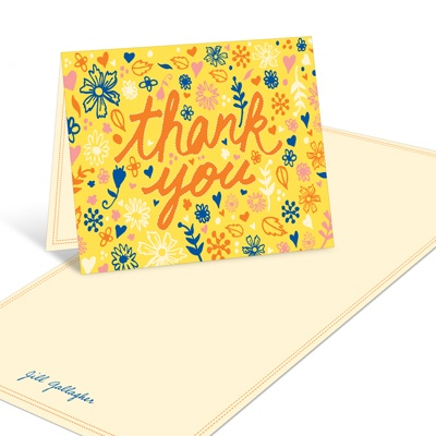 Sketched Floral Sentiments Baby Shower Thank You Cards