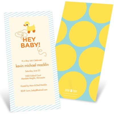 Retro Rubber Duck Toy Baby Shower Invitations