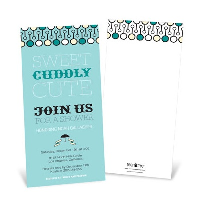 Sweet Poster in Blue -- Modern Personalized Baby Shower Invitations