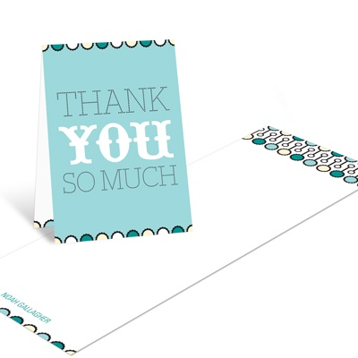Sweet Poster in Blue Modern Baby Shower Thank You Cards