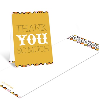 Sweet Poster in Orange Modern Baby Shower Thank You Cards