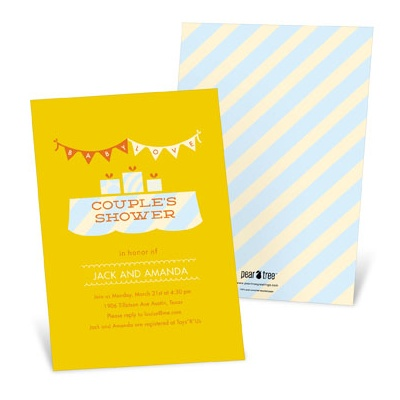 Sweetly Strung Baby Love in Yellow -- Couples Baby Shower Invitations