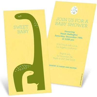 Dinosaur Dreams In Yellow Baby Shower Invitations