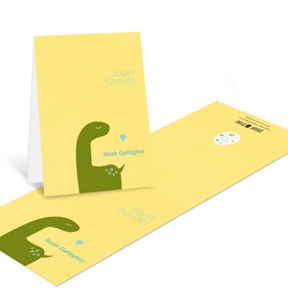 Baby Dinosaur Dreaming in Yellow -- Baby Shower Thank You Cards