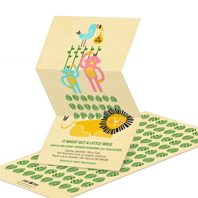 Wild Jungle Baby Shower Invitations