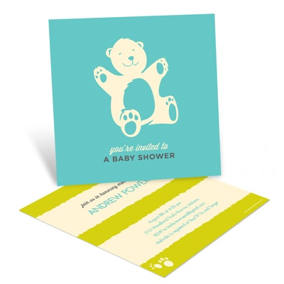Booming with Bear Hugs in Blue -- Custom Baby Shower Invitations
