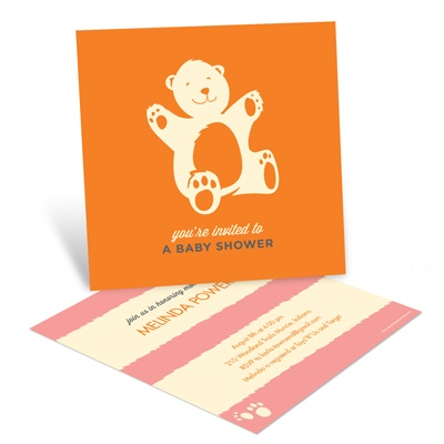 Bear Hugs in Orange Baby Shower Invitations