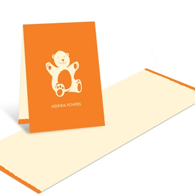 Booming with Bear Hugs in Orange -- Baby Shower Thank You Cards
