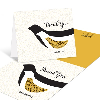 Elegant Birds Flocking Together -- Baby Shower Thank You Cards