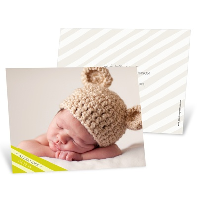 Simply Elegant Stripes in Green Baby Boy Announcements