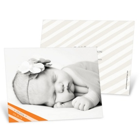 Simply Elegant Stripes in Orange -- Birth Announcements