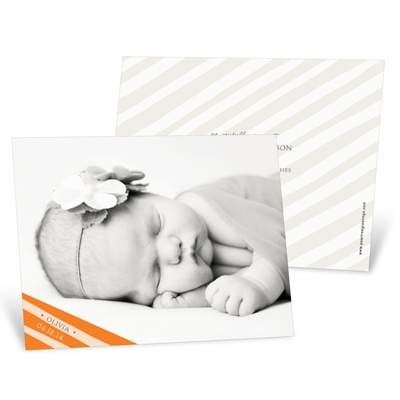 Simply Elegant Stripes in Orange Birth Announcements
