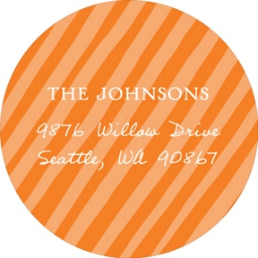 Simply Elegant Stripes Sent in Orange -- Baby Address Labels