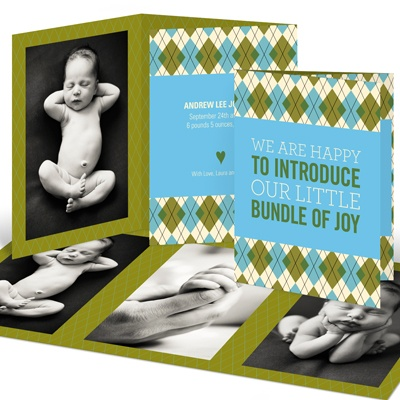 Argyle Meets Adorable Arrival in Blue -- Boy Birth Announcements
