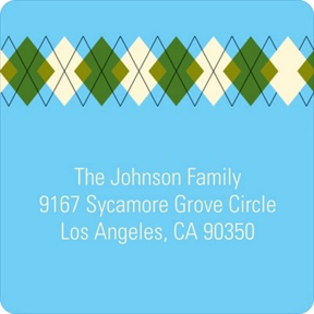 Argyle Meets Adorable Arrival in Blue -- Baby Address Labels