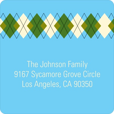 Argyle Meets Adorable Arrival in Blue Baby Address Labels
